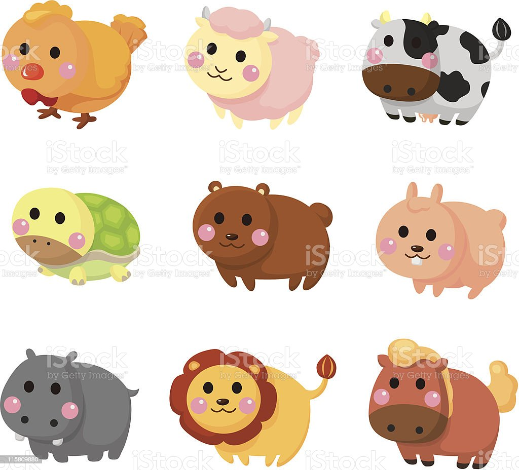 cartoon animal icon set royalty-free stock vector art