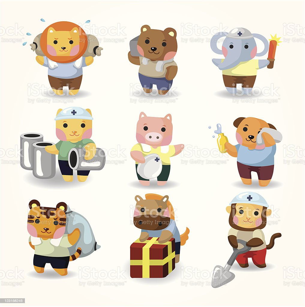 cartoon animal worker icons royalty-free stock vector art