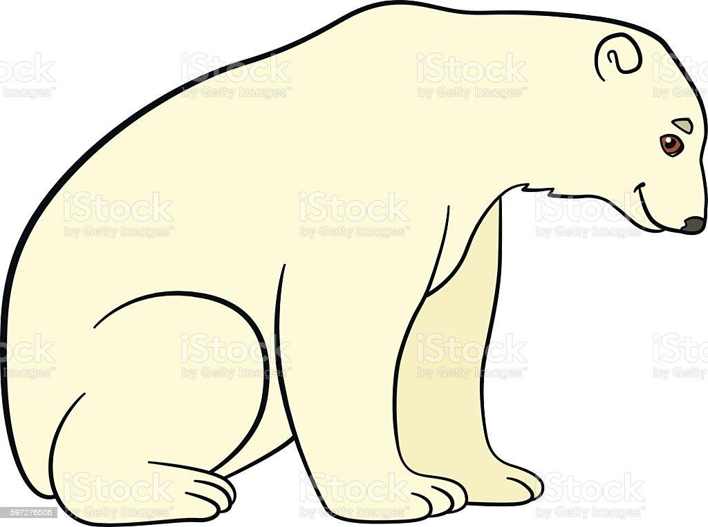 Cartoon animals. Cute polar bear smiles. vector art illustration