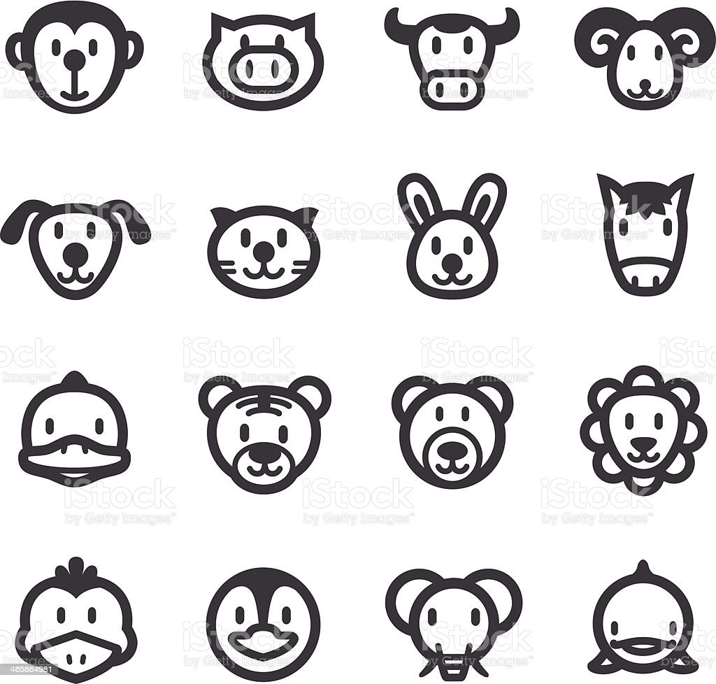 Cartoon Animals Icons - Acme Series vector art illustration