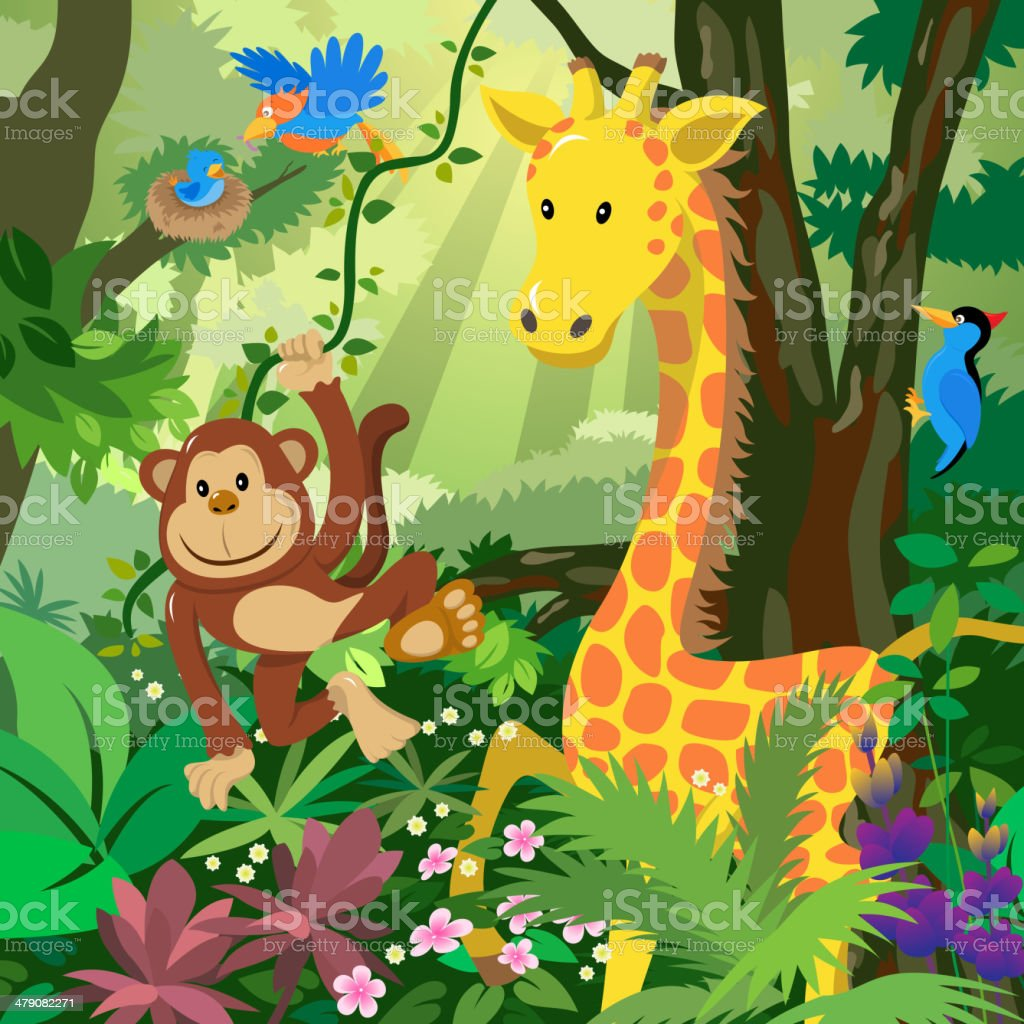 Cartoon Animals in the Jungle vector art illustration