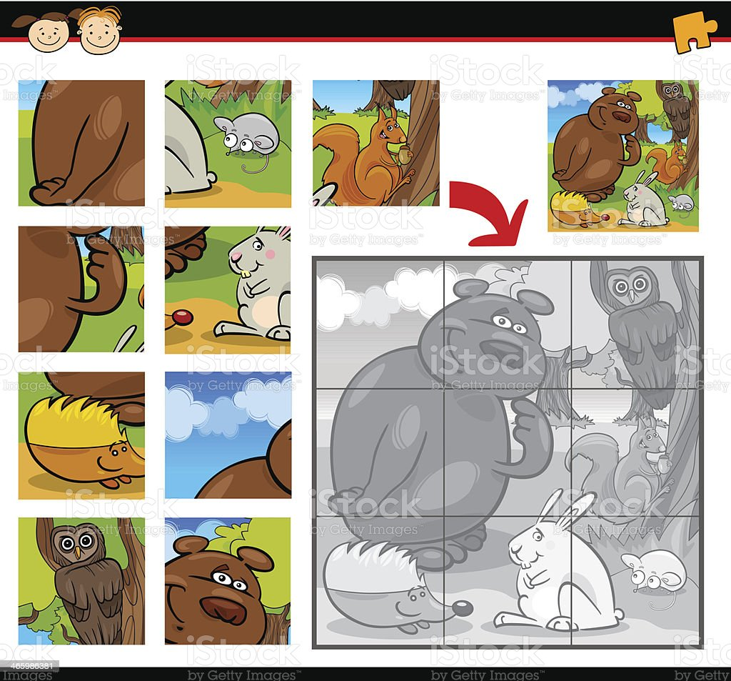 cartoon animals jigsaw puzzle game royalty-free stock vector art
