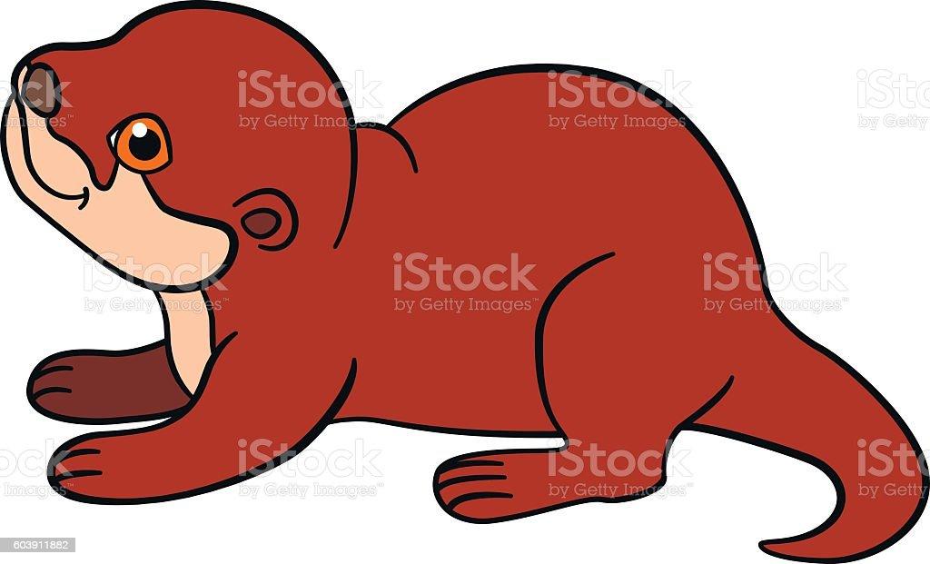Cartoon animals. Little cute baby otter smiles. vector art illustration