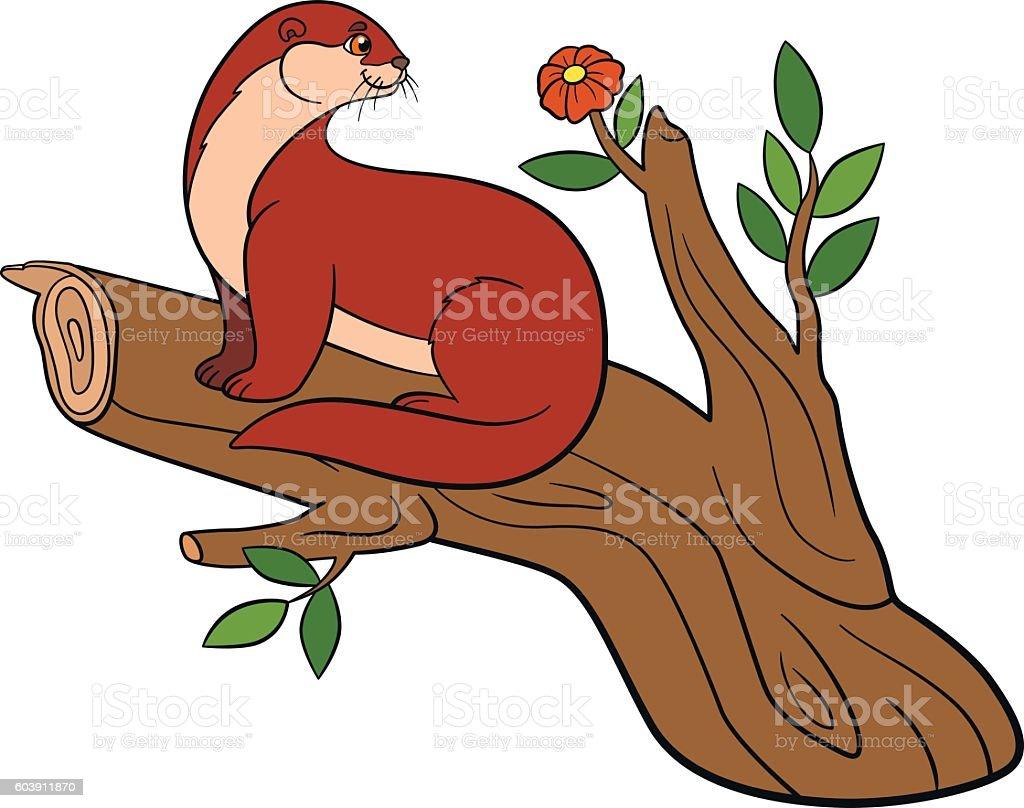 Cartoon animals. Little cute otter on the tree branch. vector art illustration