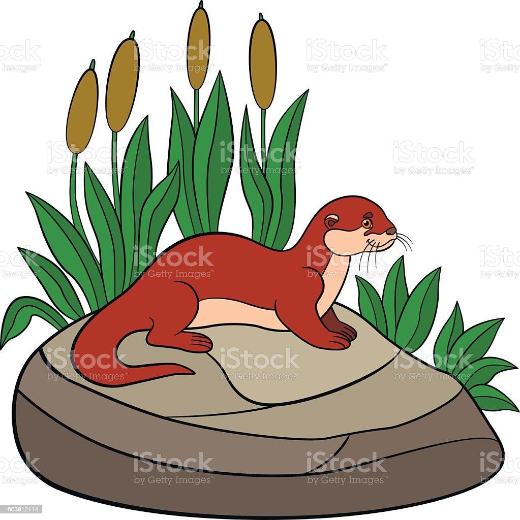 Cartoon animals. Little cute otter stands on the stone. vector art illustration