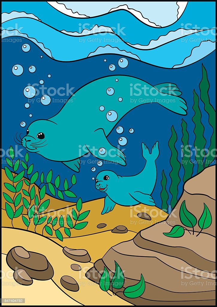Cartoon animals. Mother fur seal swims underwater with her little...