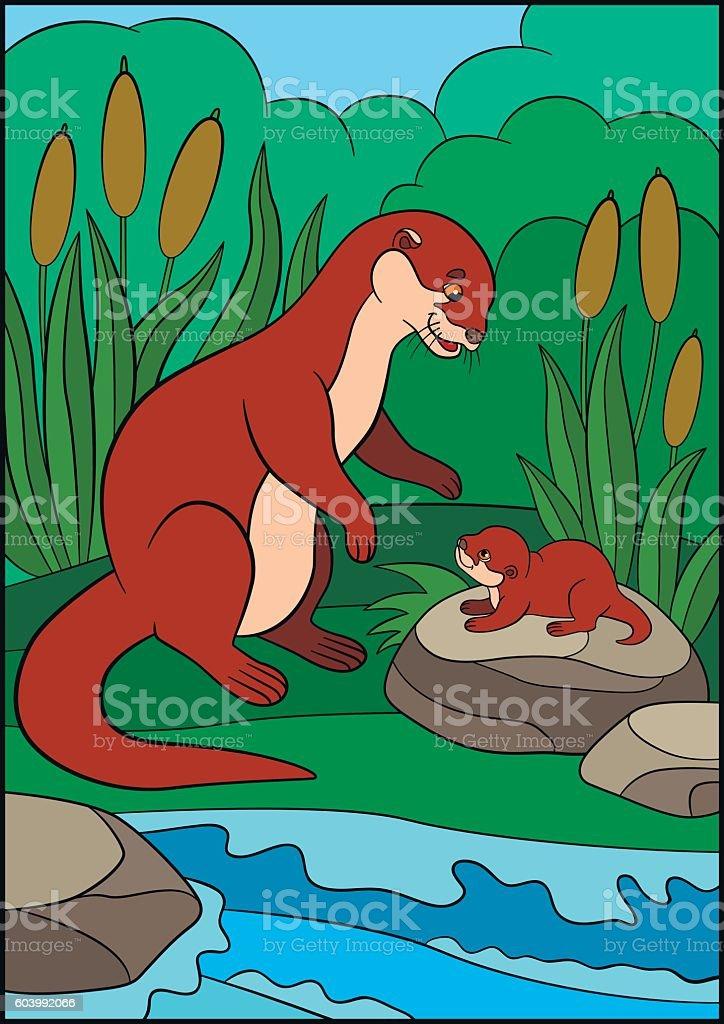Cartoon animals. Mother otter looks at her baby. vector art illustration
