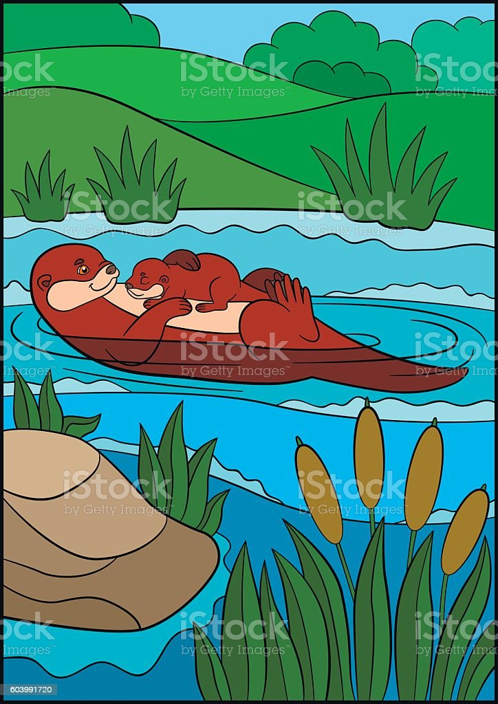 Cartoon animals. Mother otter swims with her sleeping cute baby. vector art illustration
