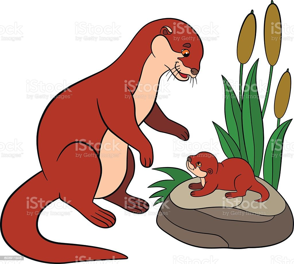 Cartoon animals. Mother otter with her cute baby. vector art illustration