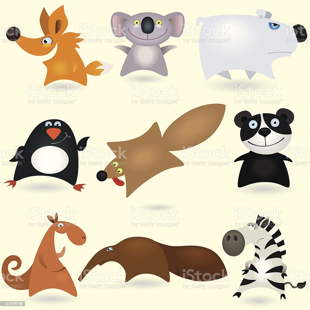 Cartoon animals set #4 royalty-free stock vector art