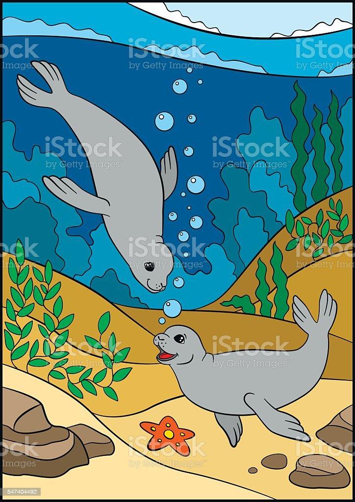 Cartoon animals. Two little cute seals swim underwater and smile.