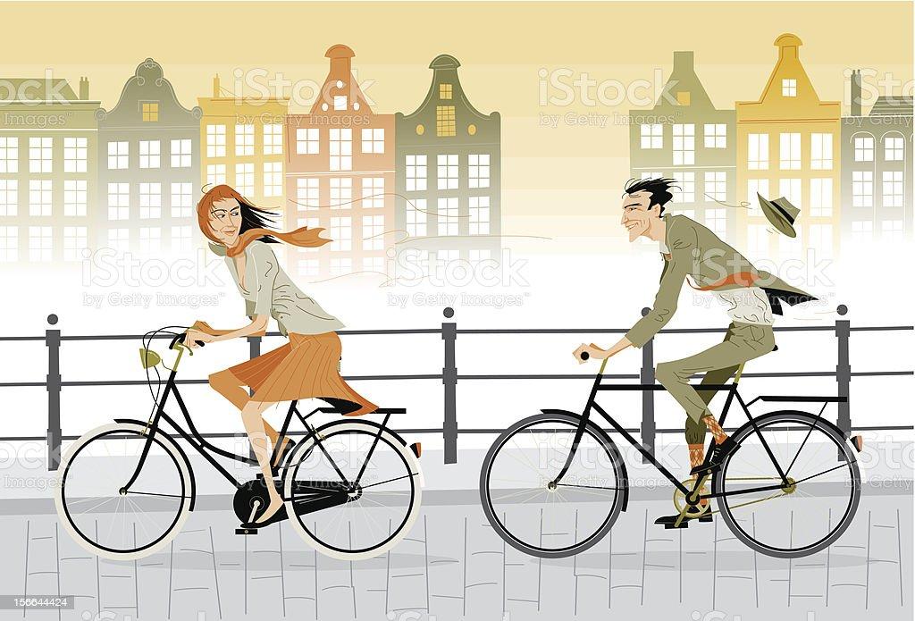 Cartoon animated couple on a city bike ride vector art illustration
