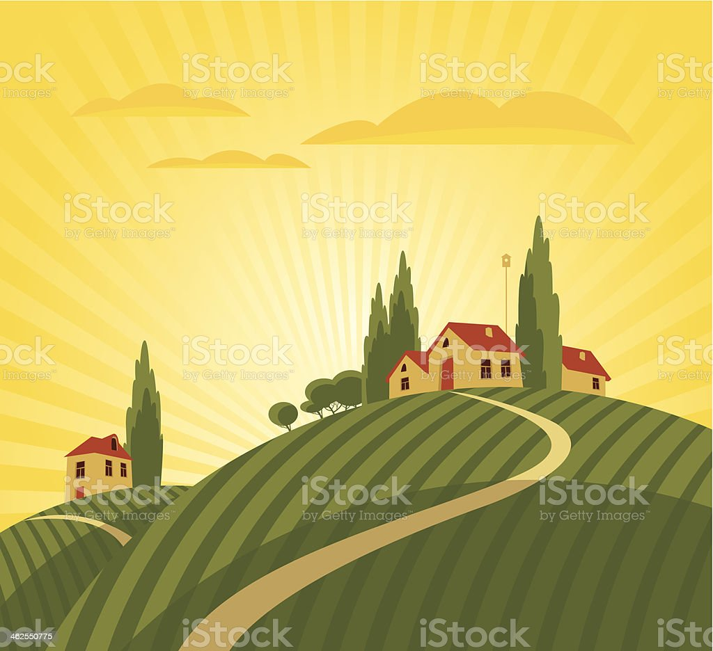 Cartoon animation of farmhouse and vineyard vector art illustration