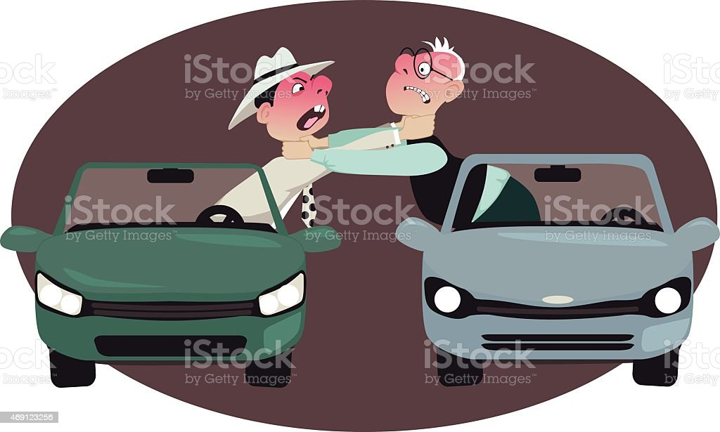 Cartoon animation of road raged drivers choking each other vector art illustration