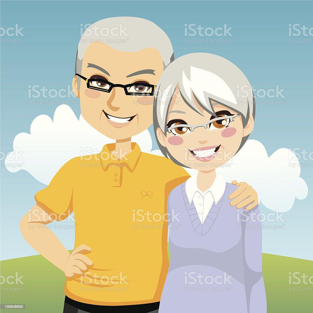 Cartoon animation of senior couple posing side by side vector art illustration