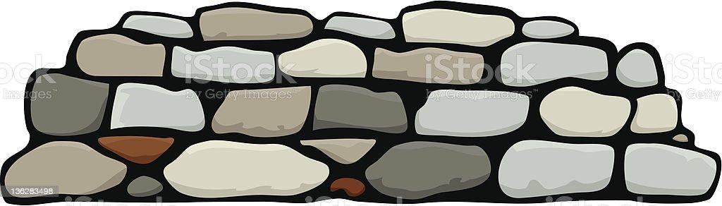 Cartoon animation of stacked stone wall vector art illustration