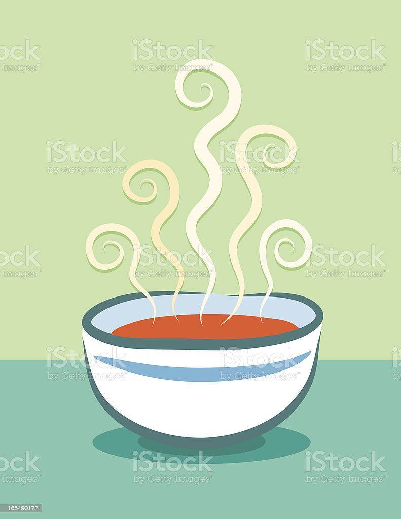 Cartoon animation of steaming bowl of tomato soup royalty-free stock vector art