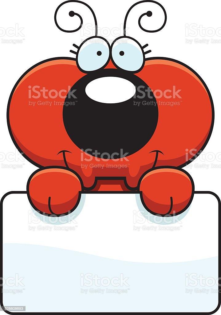 Cartoon Ant Sign vector art illustration