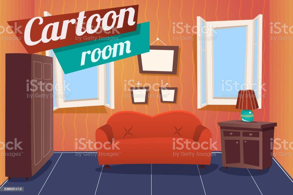 Cartoon Apartment Livingroom Interior House Room Retro Vintage Background Vector vector art illustration