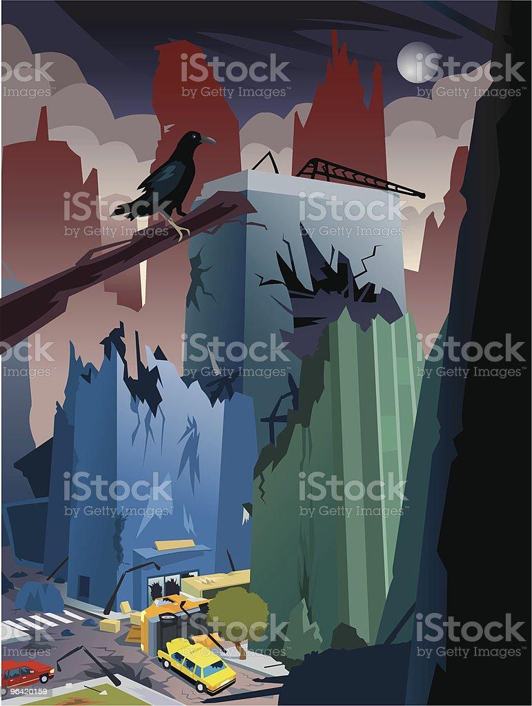 Cartoon Apocalypse, City Destroyed royalty-free stock vector art