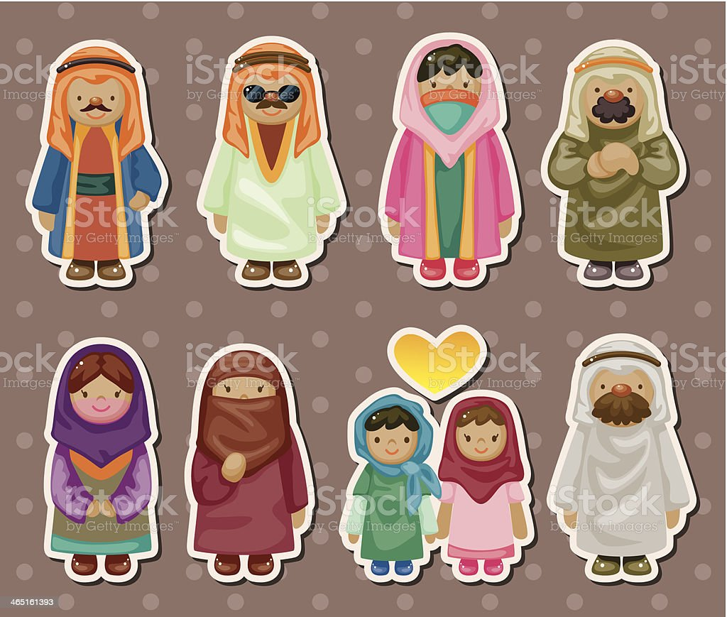 cartoon Arabian people stickers vector art illustration