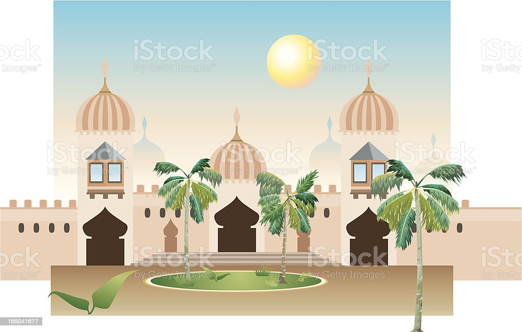 Cartoon Arabic Style Mansion with Palm Trees royalty-free stock vector art