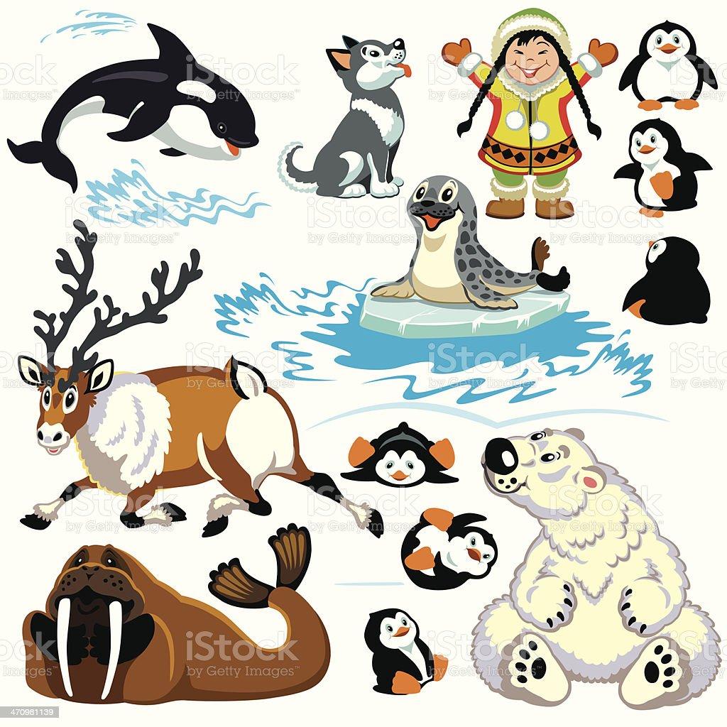cartoon arctic set vector art illustration