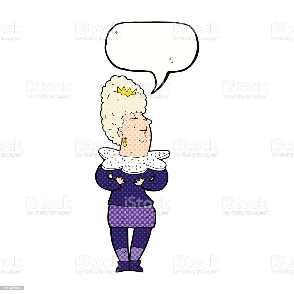cartoon aristocratic woman with speech bubble vector art illustration