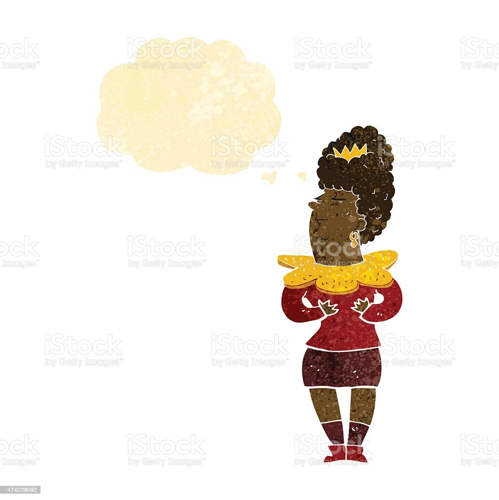 cartoon aristocratic woman with thought bubble vector art illustration