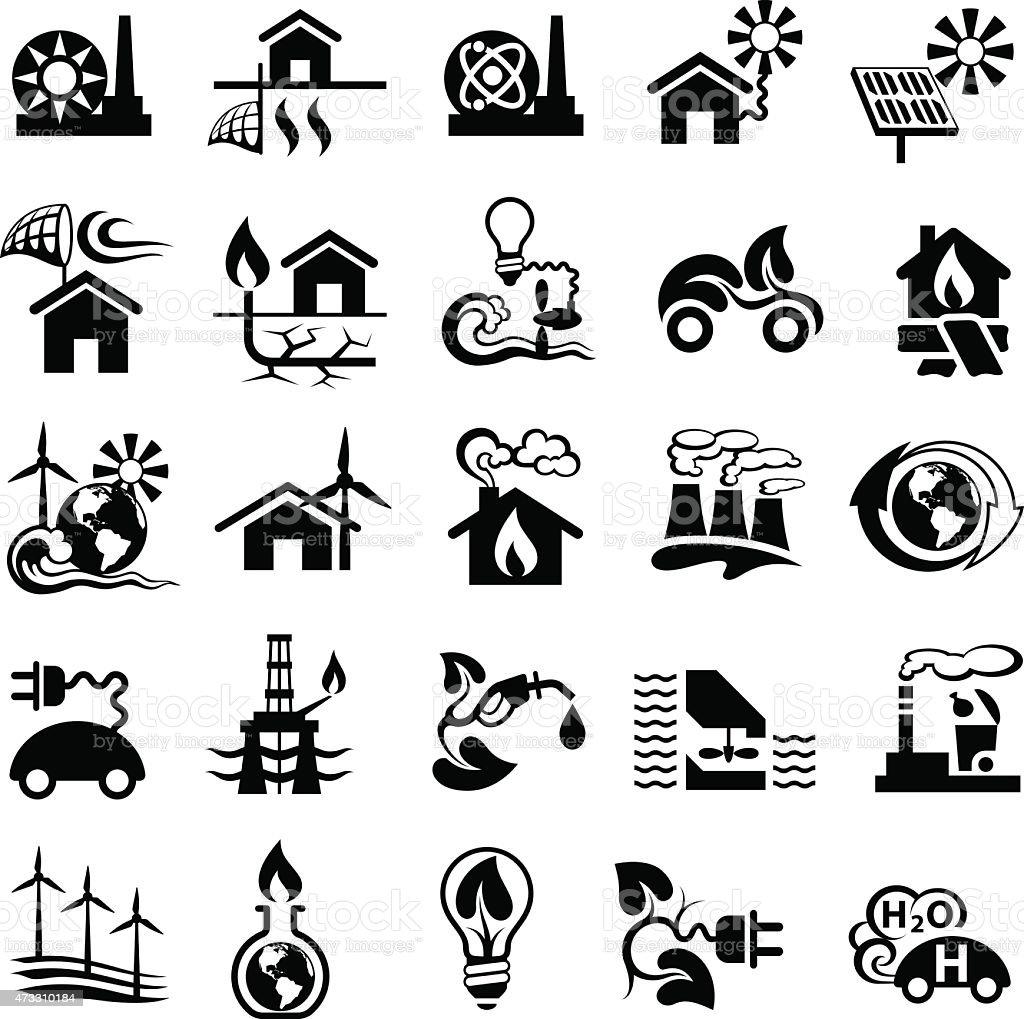 Cartoon art icons showing energy conservation ideas vector art illustration