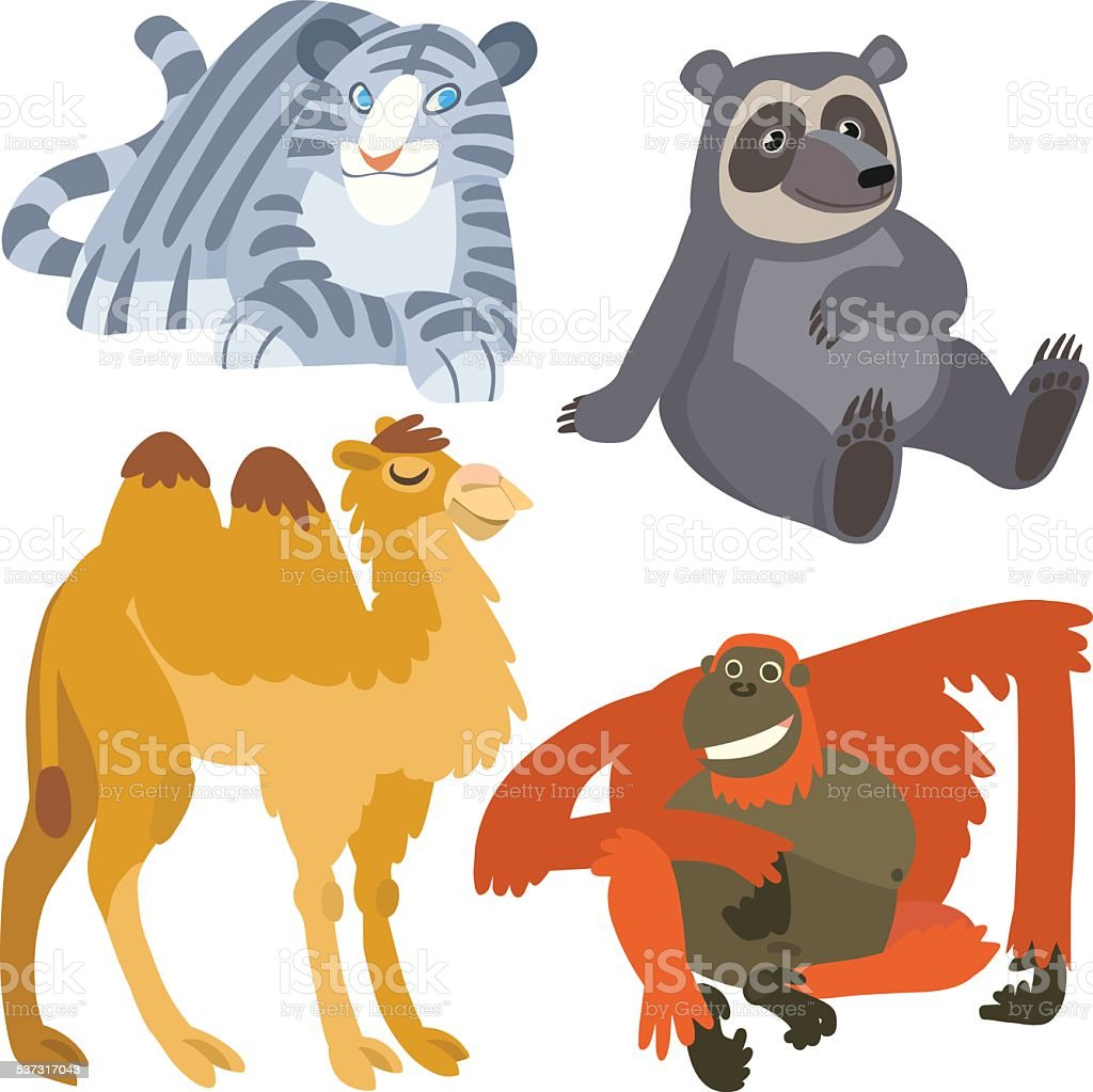 cartoon asian animals set vector art illustration