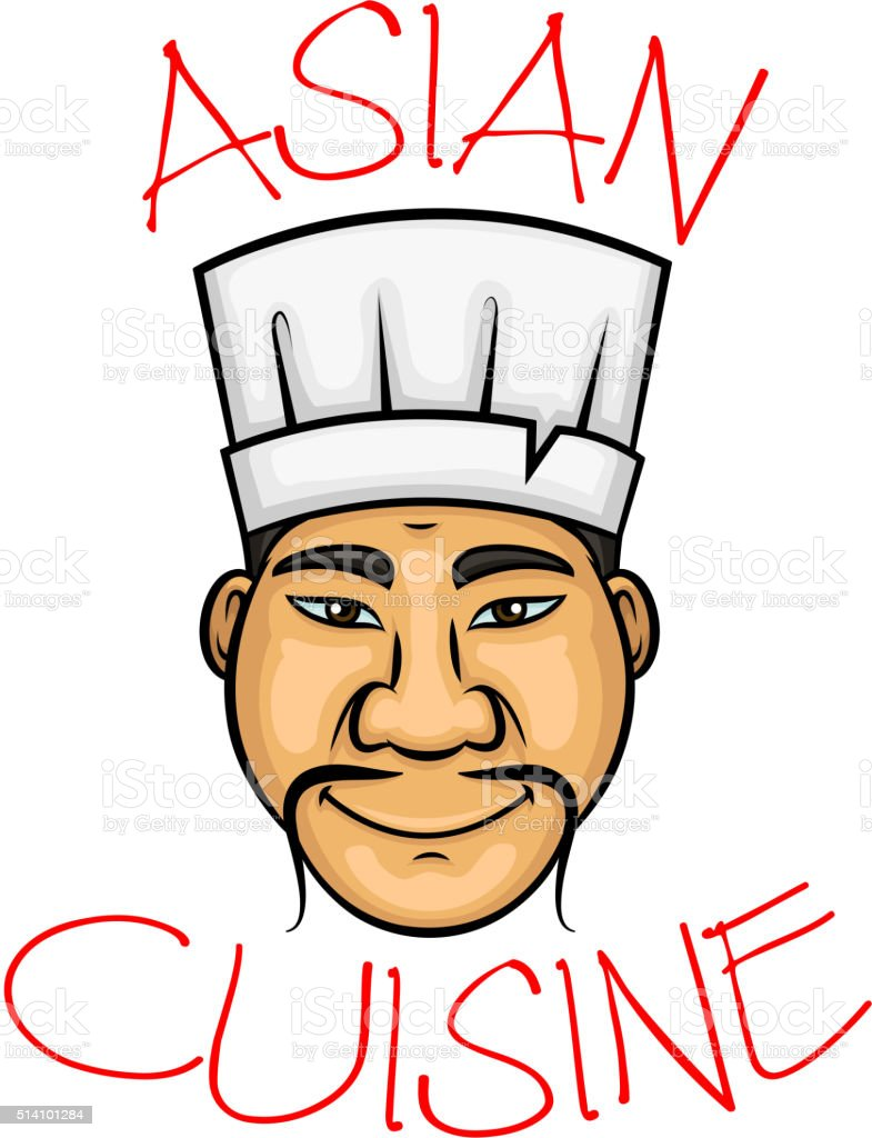 Cartoon asian cuisine chef character vector art illustration