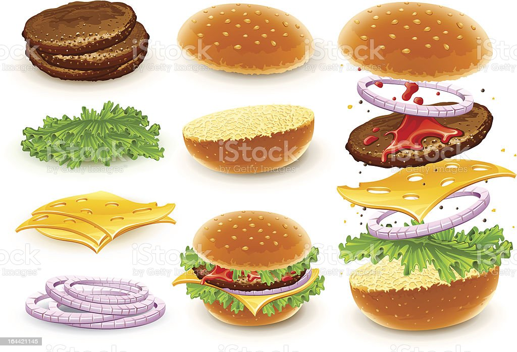 Cartoon assembly graphics of a hamburger with cheese royalty-free stock vector art