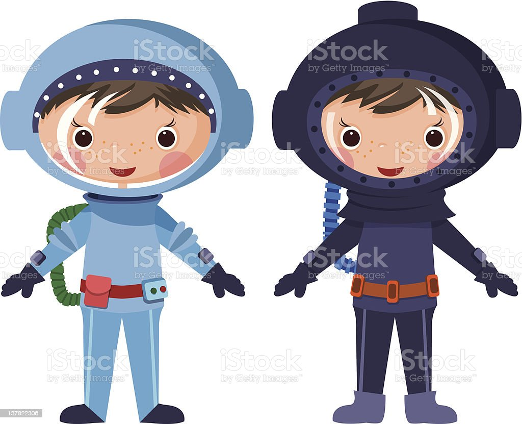 Cartoon astronaut and diver vector art illustration