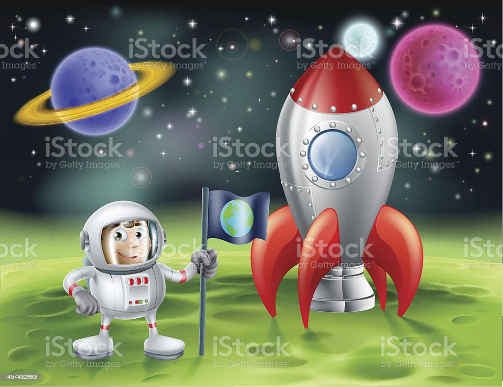 Cartoon astronaut and vintage rocket vector art illustration