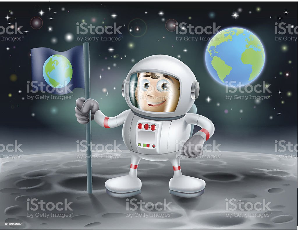 Cartoon astronaut on the moon royalty-free stock vector art
