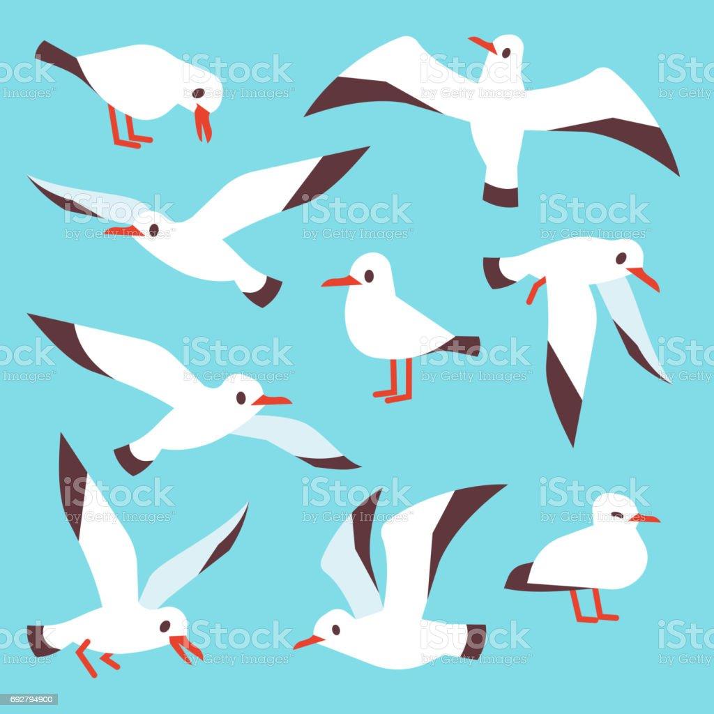 Cartoon atlantic seabird, seagulls flying in blue sky vector set vector art illustration