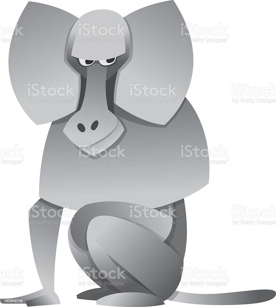 cartoon baboon vector art illustration