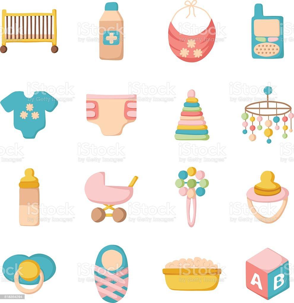 Cartoon baby care icons vector art illustration