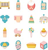 Cartoon baby care icons