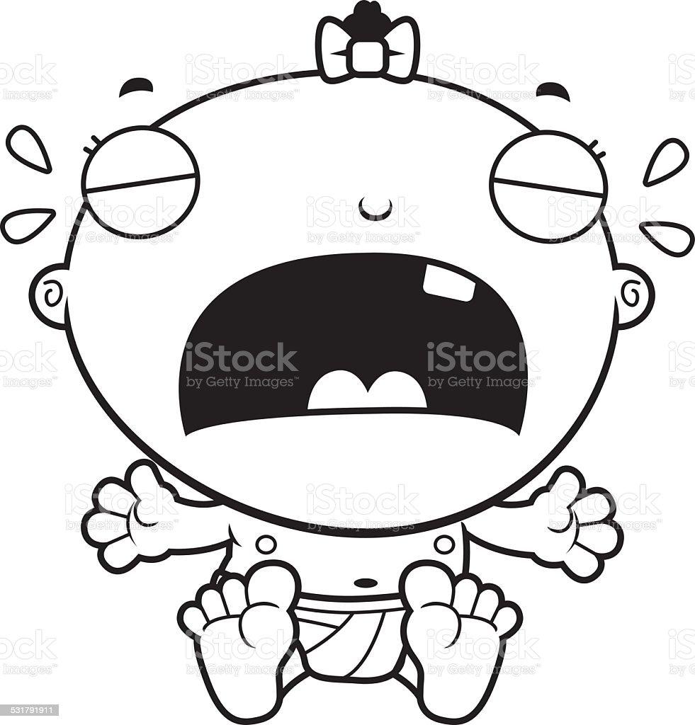 Cartoon Baby Girl Crying vector art illustration