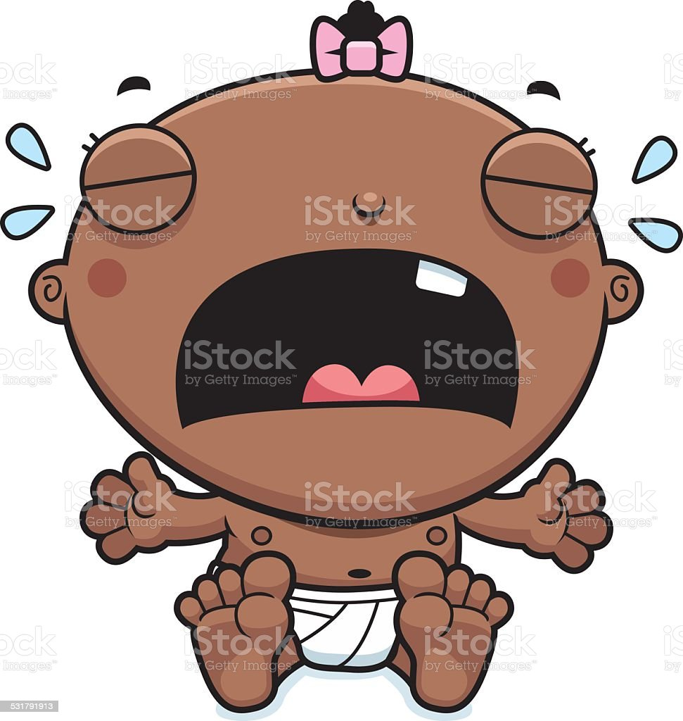 Cartoon Baby Girl Crying vector art illustration