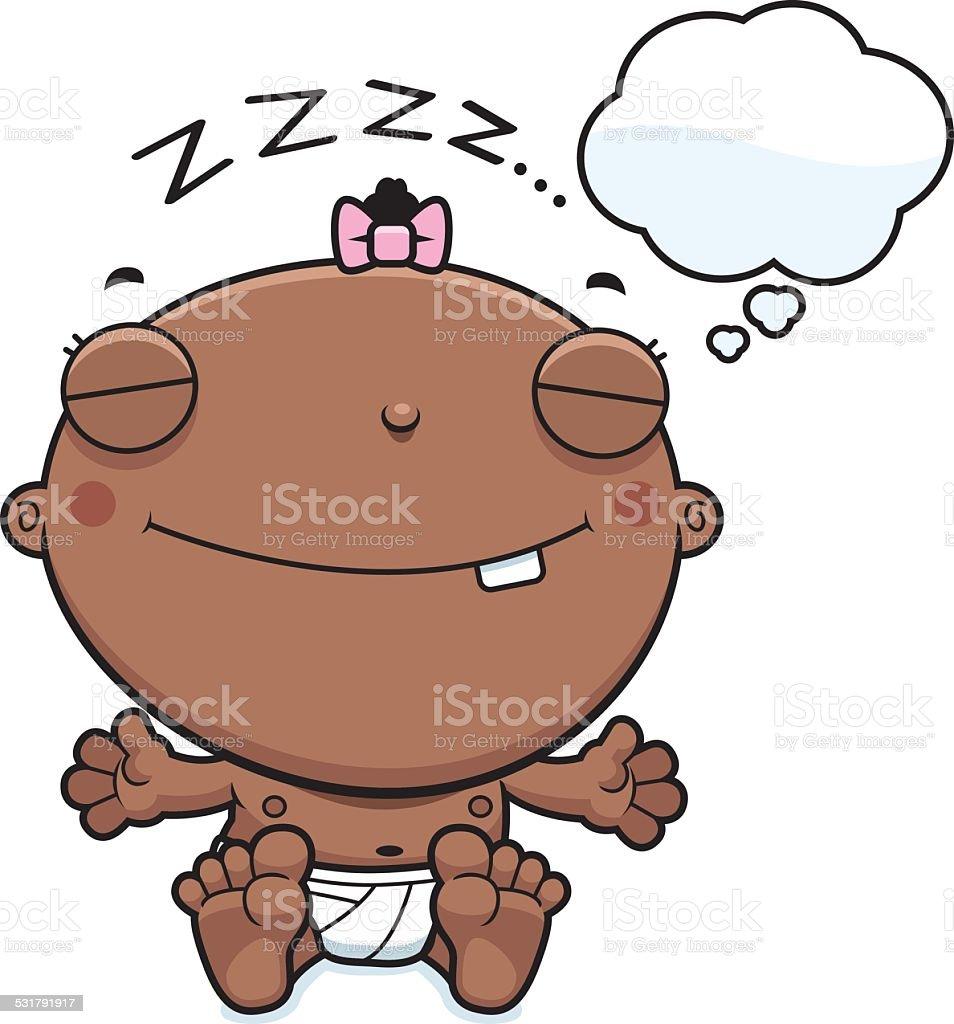 Cartoon Baby Girl Dreaming vector art illustration