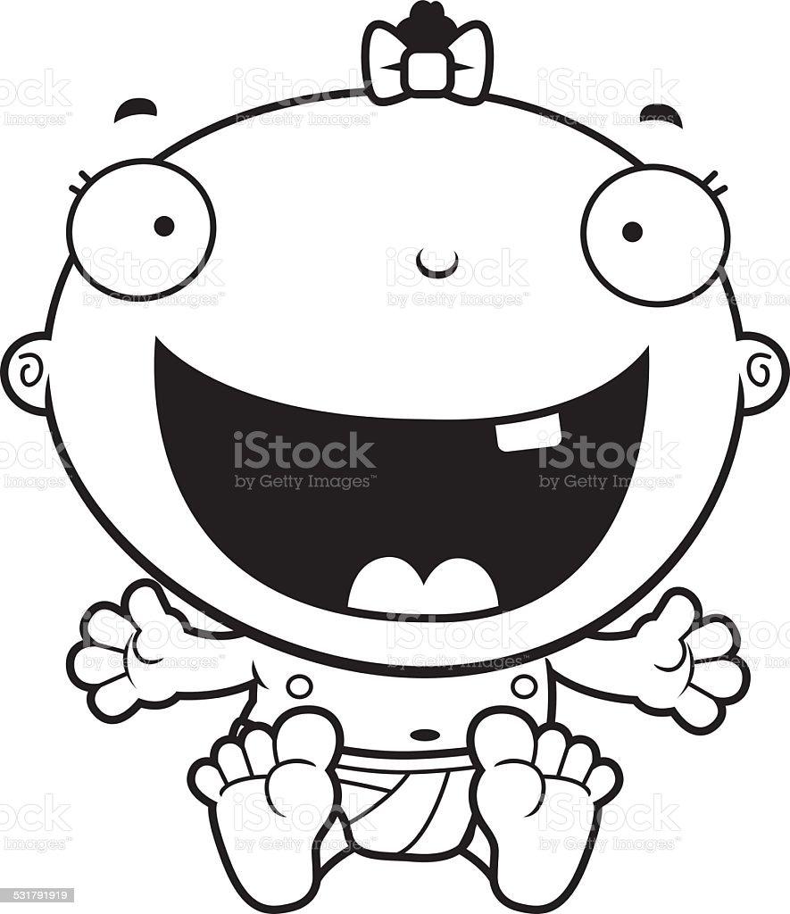 Cartoon Baby Girl Happy vector art illustration