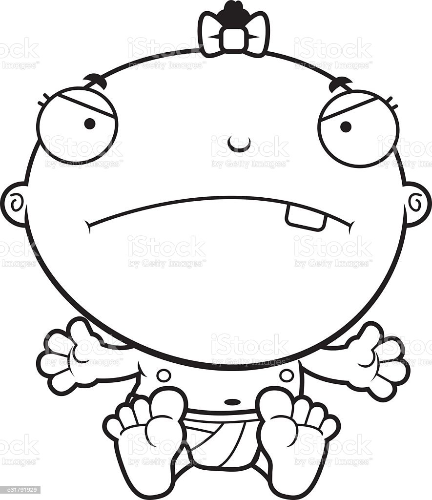 Cartoon Baby Girl Mad vector art illustration