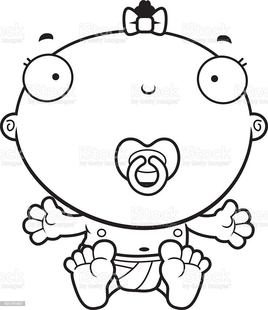 Cartoon Baby Girl Pacifier vector art illustration