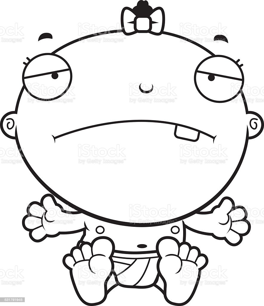 Cartoon Baby Girl Sad vector art illustration