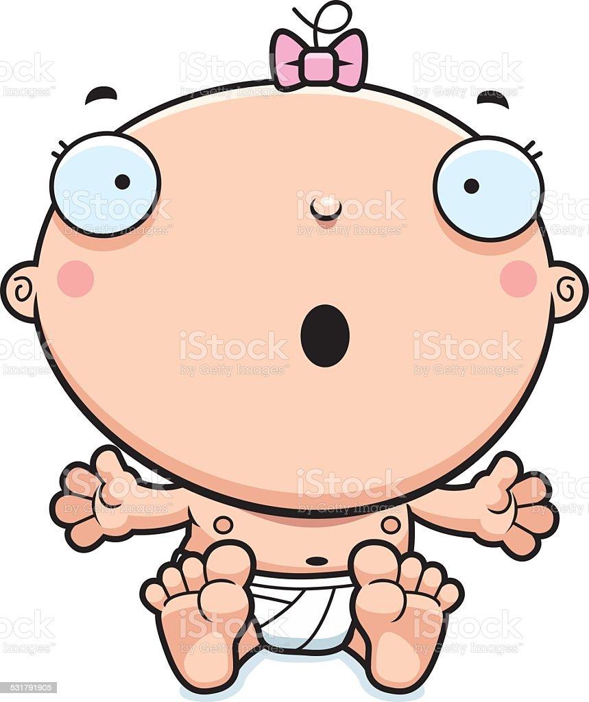 Cartoon Baby Girl Surprised vector art illustration