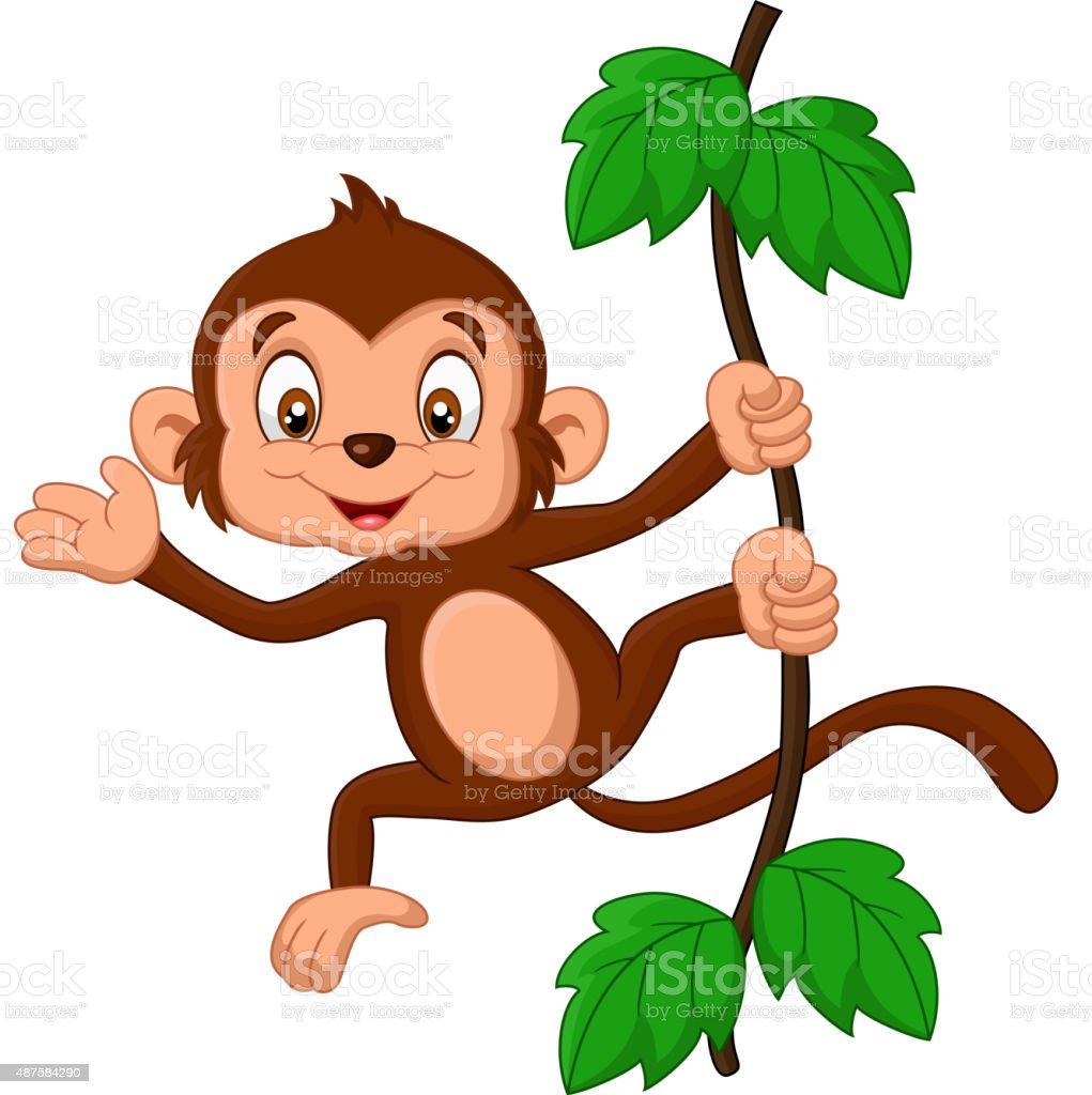 Cartoon baby monkey waving vector art illustration