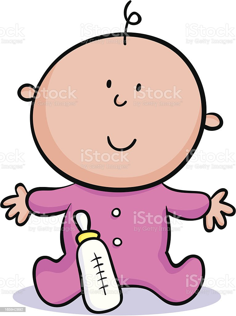 Cartoon baby with a pink onesie and bottle vector art illustration